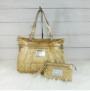 Coach Poppy Story Patch Gold Glam Bag and Wallet